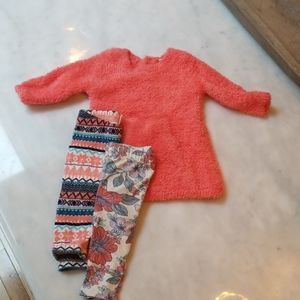 Tucker + Tate Fuzzy Sweater and 2 Bottoms Set